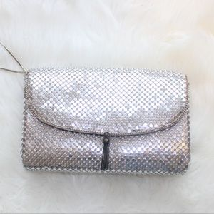 Vintage Silver Metal Clutch / Long Purse